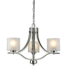 Hampton Bay Sheldon Collection 3 Light Chandelier Brushed Nickel Finish-ES1612SBA at The Home Depot 138.00