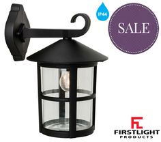 Firstlight 'Stratford' IP44 Single Downlight Lantern Die Cast Aluminium, Black Finish - 2356BK None