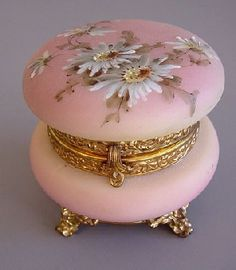 Nakara blown-molded, hand-painted glass dresser box, by C.F. Monroe Co., ca 1900