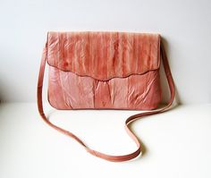 SOLD! To Me!  Vintage Pink Genuine Eel Skin Leather Purse by littlebearandbunny, $22.00.