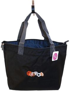 63eb35d8cca Basketball Baseball Sports Balls Monogram Bag Splash Tote Black   Gray  Zipper  PortAuthority  TotesShoppers