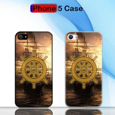 Vintage Ships Wheel Sea On The Sunset Custom iPhone 5 Case Cover