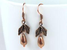 Copper Leaf Earrings  ON SALE was 14.95 by MyCreativeOasis on Etsy