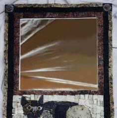 stone mirror with one cat; size 36x47cm