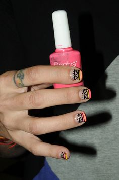 Tribal Nails with nearly nude base are fab.