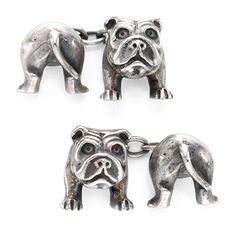 A Pair Of Silver Bulldog Cufflinks