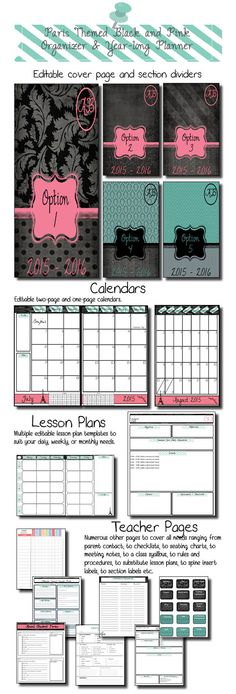 ***UPDATED FOR THE 2015-2016 SCHOOL YEAR*** This beautiful black, pink, and teal Paris themed classroom organizer is just what teachers need to get prepared in style for the new school year! This product is EDITABLE in the form of PDF and PowerPoint! Buy it now and get yearly updates for free!