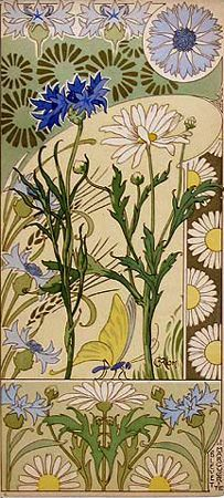 Art Nouveau - floral abstractions, vine tendrils, use of circles, borders, hand drawn type, embellished stroke endings  Rare French 1890s floral portfolio 'Etudes de Fleurs' by Riom.  Source