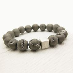 Silver Druzy Industrial Bracelet / Planet Galaxy Inspired Bead Stacking Bracelet / Metallic Concrete Urban Cloud Grey / Modern Steel Gray on Etsy, $56.00