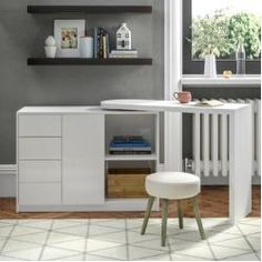 Wade Logan This wood and particle board writing desk has plenty of room, with 4 drawers of storage space, a cupboard and 2 open compartments. Corner Writing Desk, Corner Desk, Home Office Furniture, Modern Furniture, Large Desk, Desk Shelves, Secretary Desks, L Shaped Desk, Modern Desk