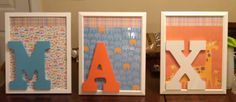Created for Nephew, using scrapbook and painting letters from his room colors, then super glued onto paper, bought cheap frames and kept glass under paper to stay sturdy!  Great room decoration!