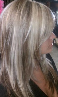 icy blonde highlights on brown - Love this!