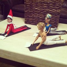 Elf #yoga with Barbie and Ken. (Follow @Gaiam for more nutrition, detox, fitness, yoga and green living tips)