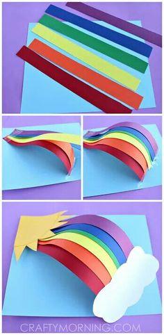 Paper Rainbow Craft diy craft crafts easy crafts diy ideas diy crafts kids crafts paper crafts crafts for kids activities for kids Paper Crafts For Kids, Projects For Kids, Fun Crafts, Paper Crafting, Craft Projects, Craft Ideas, 3d Craft, August Kids Crafts, Simple Paper Crafts