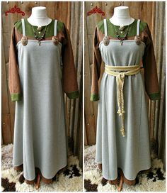 Apron dress, brooch pins, woven belt. Norse Clothing, Historical Clothing, Viking Garb, Early Middle Ages, Norse Vikings, Woven Belt, Viking Woman, Apron Dress, Dark Ages