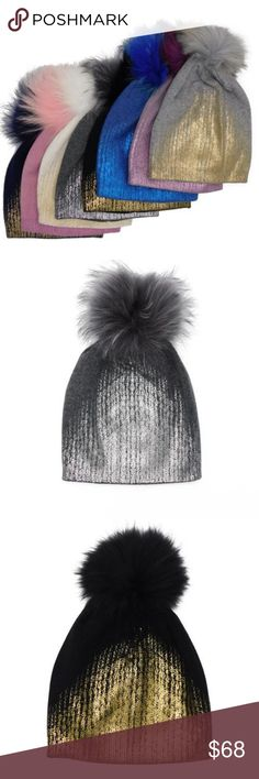 Metallic Gradient Cashmere Hats with Pom Stay warm in style with this soft cashmere hat topped with a Genuine Fox Fur Pom Pom.  100% Cashmere Genuine Fox Fur Made in China Accessories Hats