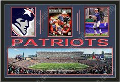 Three framed 8 x 10 inch New England Patriots photos of Tom Brady with a large New England Patriots stadium panoramic, double matted in team colors to 36 x 24 inches.  The lines and PATRIOTS* are cut into the top mat and show the bottom mat color.  The stadium view may be cropped to fit.  $199.99 @ ArtandMore.com