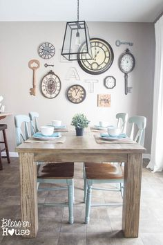 1 Rustic Industrial Breakfast Room 2 Ways - Bless'er House Vintage Dining Chairs, Outdoor Dining Chairs, Modern Dining Chairs, Dining Rooms, Dinning Table, White Master Bathroom, Thrifty Decor, Farmhouse Table, Vintage Farmhouse