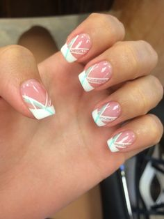 Gel French Manicure. Turquoise accent. I loved these nails. I actually might get these done again.