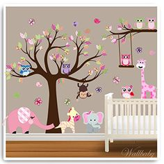 Owl Wall Stickers Animal Jungle Monkey Nursery Decor Baby Room Kids Decal Vinyl Art