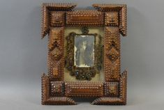 Tramp Art Frame, with Flowers made of Human Hair, Picture of a Woman.