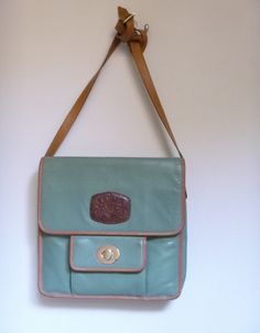 Womans Cross Shoulder Bag ~ Unusual Aqua Leather ~ Shoulder Bag ~ Purse ~ Messenger Bag ~  Designer bag ~ Size Holds ipad ~ by HeySardine on Etsy