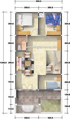Denah rumah dua lantai dengan luas lahan 78m2 ~ 1000+ Inspirasi Desain Arsitektur Rumah Minimalis Narrow House Designs, Narrow House Plans, New House Plans, Tiny House Design, House Floor Plans, Home Design Plans, Plan Design, Apartment Layout, Shed Plans