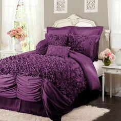 Lucia Four Piece Purple Comforter Set California King