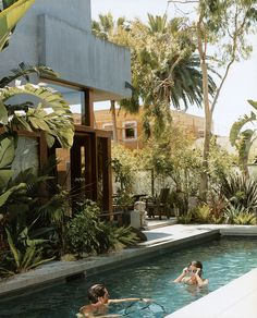 Sophie and Colin enjoy their new #pool, the only non-solar-powered portion of their home in Venice, California, created by their father, architect David Hertz.