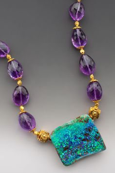"Neptune's Garden: A munificent Australian boulder opal - reflecting the rich color of tropical oceans - on large very ""gemmy"" faceted semi-transparent amethyst and generous 18K accents. Pendant size 1 1/2"" x 1 3/4"", and 1/2""-5/8"" thick."