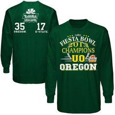 Oregon Ducks 2013 Fiesta Bowl Champions Score Long Sleeve T-Shirt