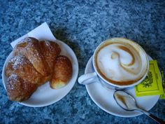 Mmmm.  What a perfect way to start the morning.  Typical Italian breakfast (colazione)