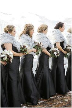Stein Eriksen Lodge New Years Eve Park City Wedding, Logan Walker Photography, Black Floor Length Bridesmaid Dresses with Grey Fur Stole - http://fabyoubliss.com/2015/08/13/elegant-new-years-eve-park-city-wedding