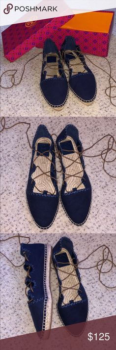 70c5fae7ab9 Tory Burch Sonoma gillie espadrille NEW Super cute navy lace up espadrille! Tory  Burch Shoes