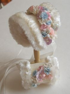 Miniature dollhouse 1/12th scale cashmere bonnet and muff.  Beautiful in plush and chenille.