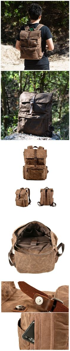 """Waterproof Waxed Canvas Travel Backpack Canvas With Full Grain Leather Backpack 15.6"""" laptop Collage Rucksack MC9823 Canvas Backpacks, Waxed Canvas, Travel Backpack, Natural Leather, Leather Backpack, Laptop, Collage, Mens Fashion, Moda Masculina"""