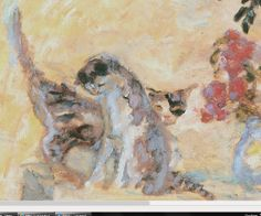 Cats, of course, played symbolic roles as erotic, feminine and domestic mirrors and are included in many of Pierre Bonnard paintings. His wife Marthe. Pierre Bonnard, Maurice Denis, Edouard Vuillard, Henri Matisse, Contemporary Paintings, Cat Art, Painting Inspiration, Modern Art, Illustration Art