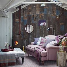 Country living room with heather sofa | Living room decorating | Country Homes & Interiors | Housetohome.co.uk