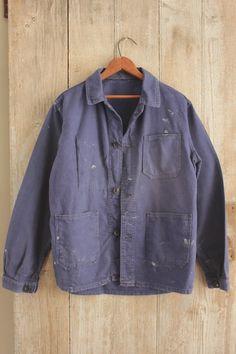 Chore coat Work wear French blue jacket Farmer clothing Bill Cunningham denim   Antiques, Linens & Textiles (Pre-1930), Other Antique Textiles   eBay!