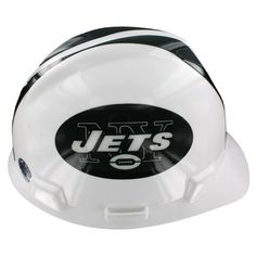 The New York Jets Hard Hat is an MSA V-Gard hard hat with officially licensed New York Jets team decals and a comfortable, strap adjustable Staz-On® suspension. This hard hat offers superior quality, comfort, and protection.   NFL Hard Hats meet or exceed all applicable requirements for ANSI Z89.1-2003 for a Type I helmet.