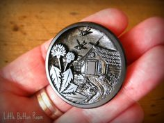 Large vintage black glass pictorial button with metal loop shank at facebook.com/littlebuttonroom