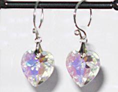 VINTAGE Swarovski Crystal AB Heart Earrings by created4uDesigns, $19.00