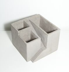 Cement Architectural Plant Cube Planter 3 by Vagabond Vintage