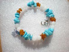 bracelet lithothérapie ambre, jade blanche et turquoise sur fil à mémoire de…