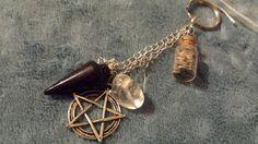 Pentagram Blue gold stone lavender charm  Www.ladystarsandfire.com