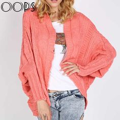 OOPS Multi-colors Irregular Twist Batwing Midi Cardigans Women Autumn Loose Coarse Lines Long Sleeve Sweaters B1607198