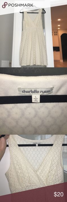 White lace vneck dress Cute summer dress, lace with deep vneck Charlotte Russe Dresses Midi