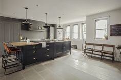 The Greenwich Park Kitchen with tall Spitalfields cabinetry. Osea Island with Honed Derbyshire Fossil Stone and wooden worktops. Plain English Kitchen, English Kitchens, Stone Kitchen Floor, Kitchen Flooring, Victorian London, One Kings Lane, Soho, Brighton, Brooklyn