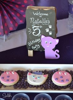Cute cookies at a kitty princess birthday party! See more party planning ideas at CatchMyParty.com!