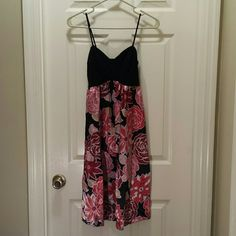 Forever Dress Small Forever black dress with red and pink floral design. 100% Polyester. Forever Dresses